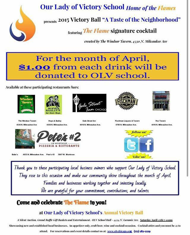 Month of April $1.00 of Each Drink will be Donated to OLV